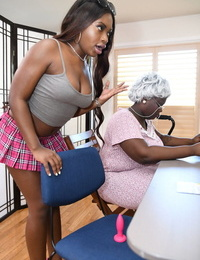 Ebony Noemie Bilas & busty granny Sally DAngelo get screwed by a naughty stud