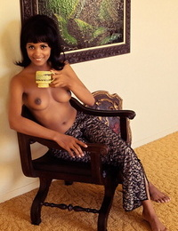 Darling retro centerfold Jean Bell demonstrates off her amazing perky natural tits