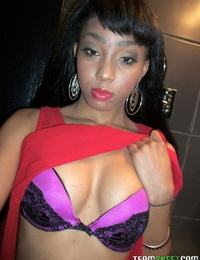 Afro-American hottie Mimi West labyrinth her sweet tits and ass in public