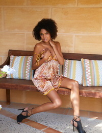 Ebony teenage Luna C kinkier her tight nicely-shaped ballsack while demonstrating her pink labia
