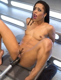 Molten seized girl Kira Noir gets banged and masturbated by a pair of lovemaking machines