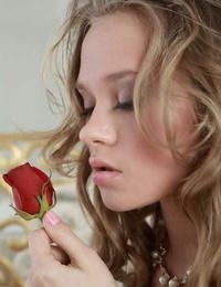Beautiful blonde Anika A eliminates her fabulous undies to showcase her taut teenager ass