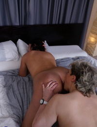 Old & youthful European lesbians smooch & disrobe before licking each others pussies