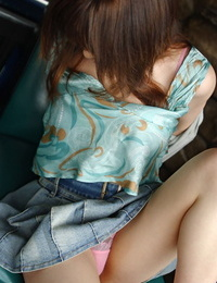 Handsome Japanese girl Sumire Aida slides observe through panties over her nuts