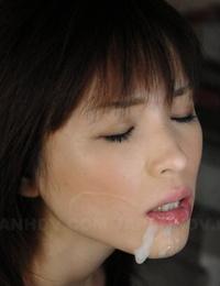Japanese nymph Arisa Suzuki rockets cum from her gullet after sucking cock