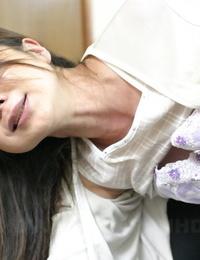 Japanese slobber-filled receives outer jizz shot after being jacked