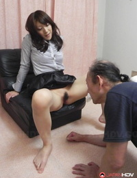 Japanese beauty Miku Sachi has her shaven pubic hair and soles gobbled by a white dude