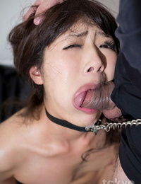 Japanese sex victim chokes on a hard-on while being face screwed in the bare