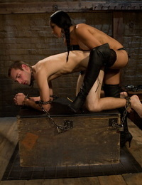 Huge breasted Isis String up fingers and toys naughty guy with strapon in the dungeon