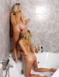Angelic blondes lather and rinse in tub - part 292