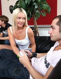 Beautiful unexperienced ash-blonde teenager gets dual romped - part 352