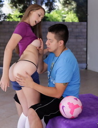 Flexy teenager with tongues chubby sack of babymakers is getting jism on her face - part 460