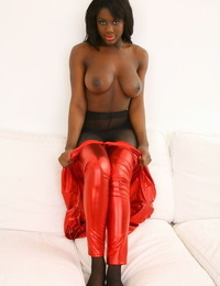 Black pornographic star in glossy costume - part 26