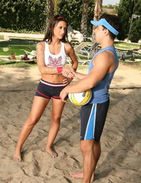 Mya with perfect boobs gets fucked after toying beach volleyball - part 261