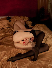 Nayul lays temptingly on the satin sheets with her legs broad open - part 435