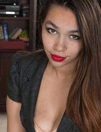 Victoria marie models and liquidates her crimson miniskirt - part 956