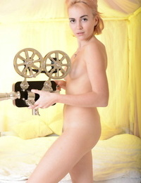 Monroe lays on the sofa as she bares her white pearly figure and shaved beaver - part 82