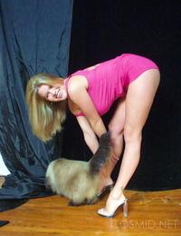 Blonde in pinkish dress - part 285