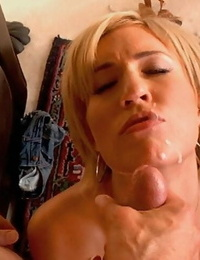 Shaved vagina blond with crazy taut apple ass gets humped and jizz coated - part 217