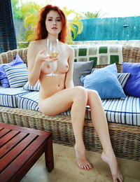 Redhead adel c enjoys her day off sipping on some white wine, lying in the so - part 1761