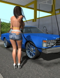 Hot 3d stunner at public carwash getting off huge knockers - part 1065