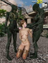 This 2 alien peckers is too big for her mouth - part 1502
