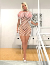 Huge frosted 3d light-haired in fishnet gimp costume demonstrates cunt - part 1162