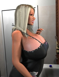 Seductive 3d blond uncovering her enormous hooters in the bathroom - part 1270
