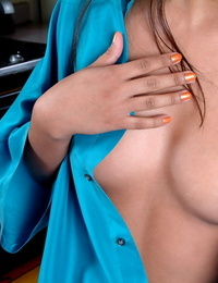 Oriental amateur Nyomi flaunting small boobs and hard nips in hose