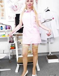 Older blonde nurse rids uniform before playing furry vagina with large hookup fucktoy