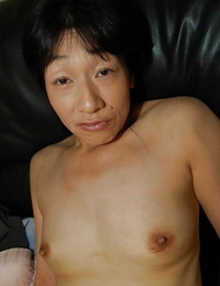 Lil\' knockers Asian milf Chie Kaneko exposes her wooly pussy while masturbating