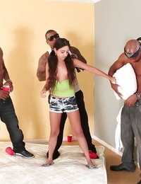 Broads gangbang with extraordinaire long-haired brunette Trinity
