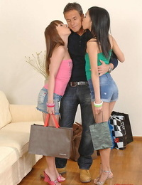 Naughty babe Mercy Noel sharing a rock hard brutha with her asian friend