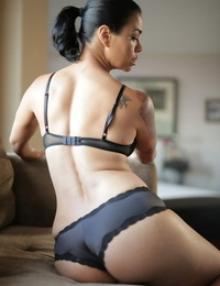Teenage Dana Vespoli gushes her puny hooters and her huge booty in captured lingerie