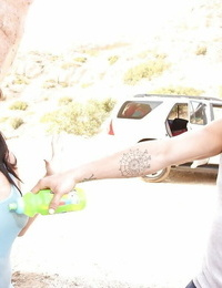 Nice asian teenage babe London Keyes sucks and pounds a cock outdoor
