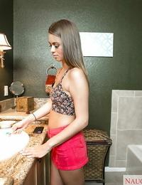 Teen bombshell Jill Kassidy baring small knockers before taking shower