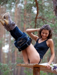European teen Divina A heads into the woods to position in her birthday suit