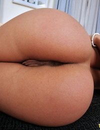 Hot european babe in lacy panties Nikky Thorne showing her furry pussy