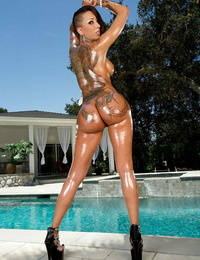 Tatted Asian stunner Bella Bellz gushes her perfect ball-sac