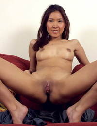 Asian very first timer Luxi exposing tiny knockers and near shaved beaver