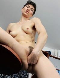 Molten wonderful brunette Halle B. demonstrates her skinny lengthy gams in the office
