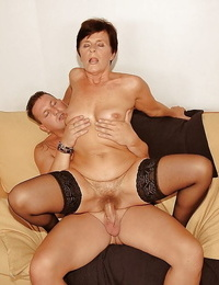 Lusty granny in black pantyhose sucks and smallish a young dick