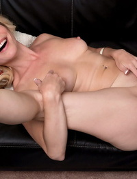 Muddy ash-blonde cougar Diandra trickles spunk from cunt after banging her boy fucktoy