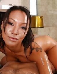 Ravishing asian massagist has some oily joy with her hung client POV