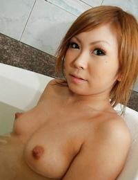 Graceful asian floosie Rika Watanabe taking shower and bath