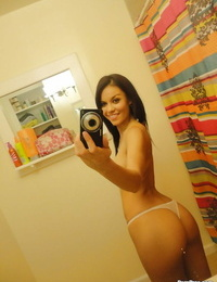 Hot chick Ruby Knox taking selfies in mirror while eliminating her clothes