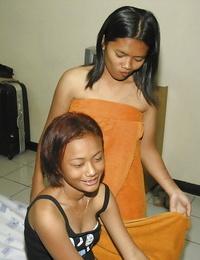Joyful Asian lesbos May and Fun take shower and get super-sexy fun