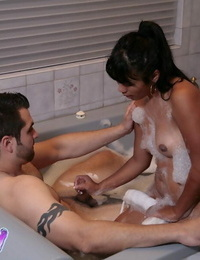 Passionate asian masseur has some soapy and humid joy with her clients cock