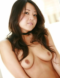Small Oriental first timer Kaylee baring adorable innate tits