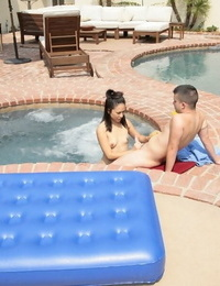 Slutty asian masseuse gives a wet erotic approach at the poolside